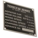 Terex 12742 Serial Number Plate - 11 Yard - 14.5 Agitator Capacity