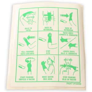 Mixer Safety Decal Sticker- Hand Signals, Green