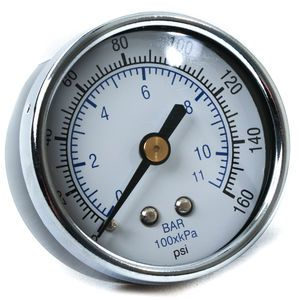Air Gauge-2 inch Face 0-160 PSI 1/4 inch Center Back Mount