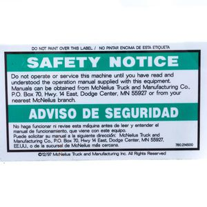 Mixer 0214500 Safety Notice Decal - Do Not Operate or Service... Aftermarket Replacement