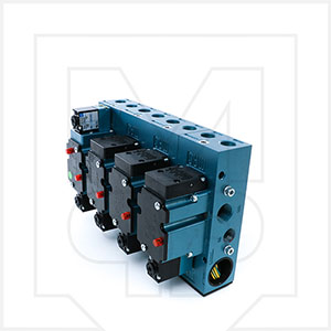 MAC 63 Series Valve Bank Stack Assembly with 3 Single Solenoid Valves and 1 Double Solenoid Valve
