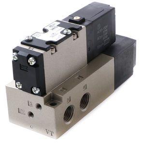 SMC Single Solenoid Electric Over Air Valve with Subbase - 3/8