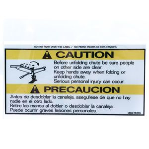 McNeilus 0115118 Caution Folding Chute Decal Sticker Aftermarket Replacement