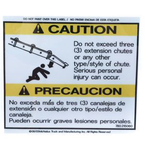 McNeilus 0215060 Do Not Exceed 3 Extension Chutes Decal Sticker Aftermarket Replacement
