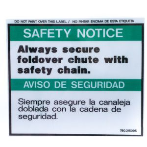 McNeilus 0215095 Chute Safety Chain Decal Sticker