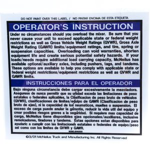 9090614000 Do Not Overload the Mixer Decal Sticker