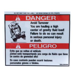 McNeilus 0215099 Avoid Turnover Danger Decal Sticker Aftermarket Replacement