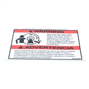 780215063 Never Place Part of Body Warning Decal Sticker