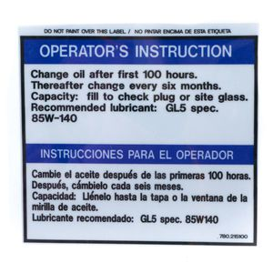 McNeilus 0215100 Change Oil Operators Decal Sticker