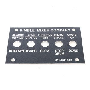 Kimble Mark VI M51-10410-00 rear control panel lable