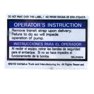 780214504 Mixer Decal Sticker - Remover Transit Strap