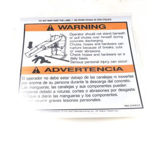 McNeilus 0214603 Mixer Decal Sticker - Warning - Operator Should Not Stand Beneath or Pull Chutes