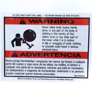 McNeilus 0215064 Mixer Decal Sticker - WARNING, Never Place Tools, Hoses, Hands etc. Aftermarket Replacement