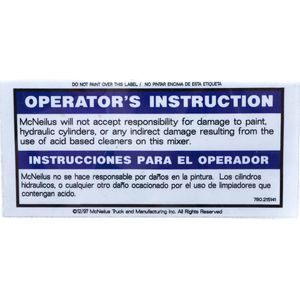McNeilus 215141 Decal Sticker - OPERATOR'S INSTRUCTION - McNeilus Disclaimer