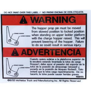 McNeilus 1138173 Warning Decal Sticker - The Hopper Prop Pin Must Be Moved... Aftermarket Replacement