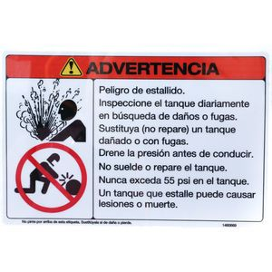 McNeilus 1460669 Warning Decal Sticker -(In Spanish) Inspect Tank 55psi