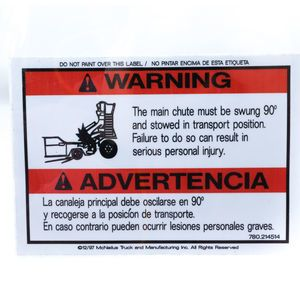 Mixer 0214514 Decal Warning Sticker - Main Chute Stowed 90 Degrees Aftermarket Replacement