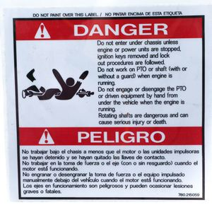 Mixer 0215059 Danger Decal Sticker - Do Not Enter Under Chassis... Aftermarket Replacement