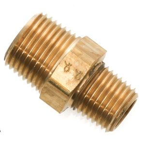 3/8 Male Pipe x 1/4 Male Pipe - Hex Nipple Fitting - Brass