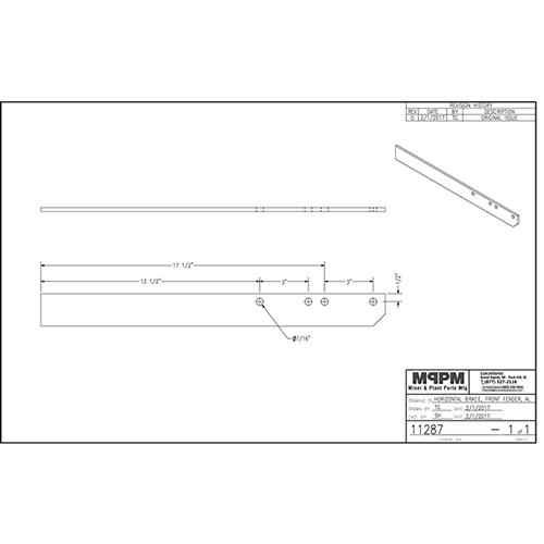 Terex 11287 Front Fender Brace - Horizontal Aluminum | 11287