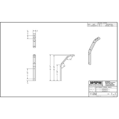 Terex 11292 Rear Fender Channel Brace Mounting Bracket | 11292