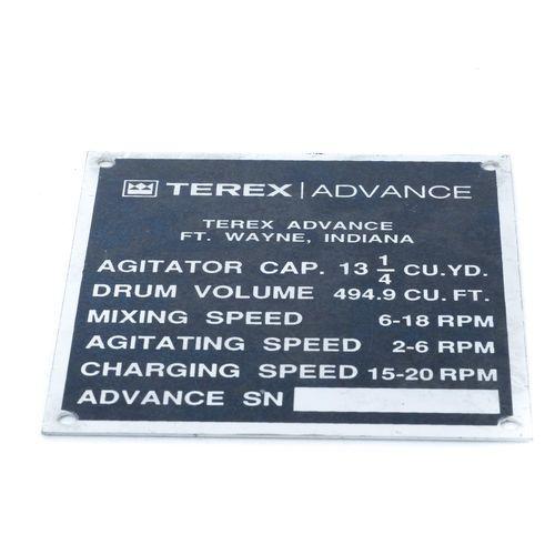 Terex 12744 Serial Number Plate - 10 Yard | 12744