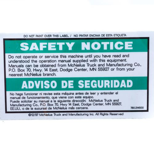 Mixer 0214500 Safety Notice Decal - Do Not Operate or Service...