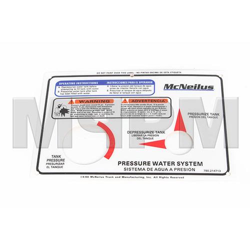 Smith Water Tank Box Placard