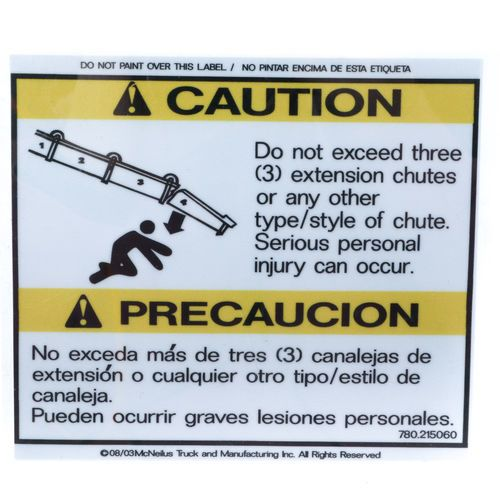 McNeilus 0215060 Do Not Exceed 3 Extension Chutes Decal Sticker
