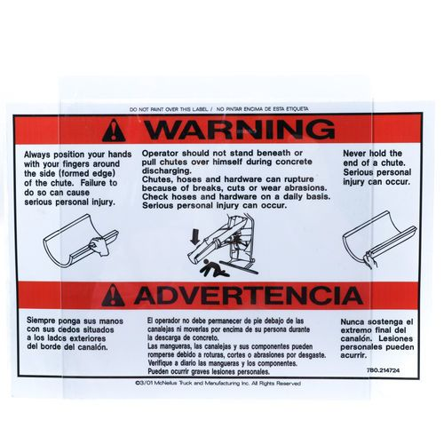 McNeilus 0214724 Warning Never Hold the End of Chute Decal Sticker
