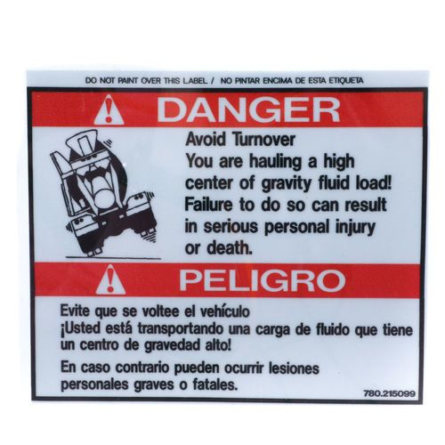 McNeilus 0215099 Avoid Turnover Danger Decal Sticker