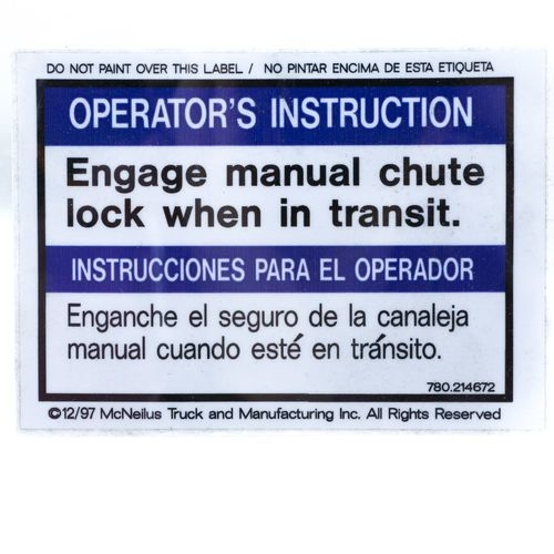 Con-Tech 799229 Mixer Decal Sticker - Engage Manual Chute Lock
