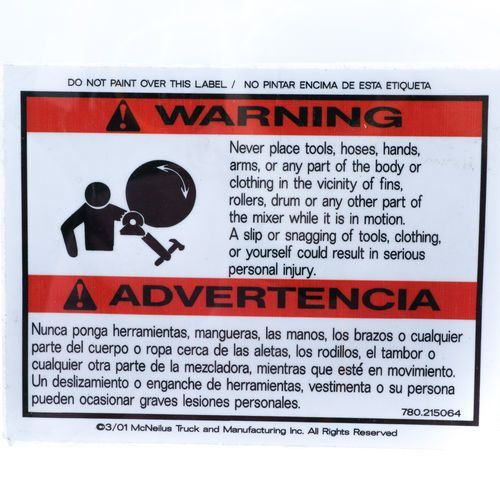 McNeilus 0215064 Mixer Decal Sticker - WARNING, Never Place Tools, Hoses, Hands etc.