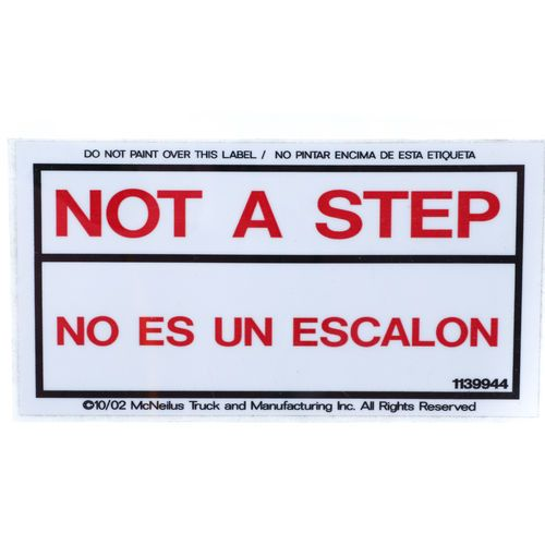 McNeilus 1139944 Decal Sticker - Not a Step