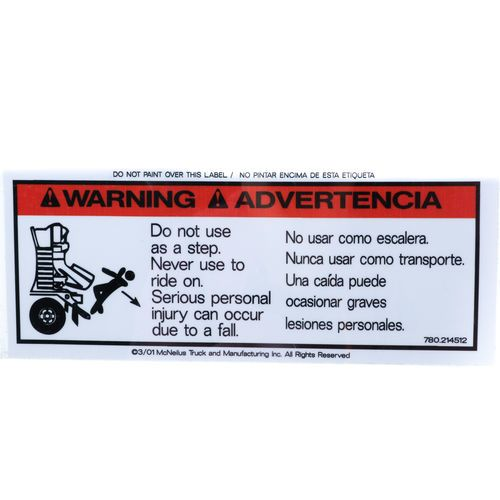 McNeilus 214512 Decal Sticker - Warning - Do Not Use As A Step.
