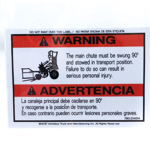 Mixer 0214514 Decal Warning Sticker - Main Chute Stowed 90 Degrees