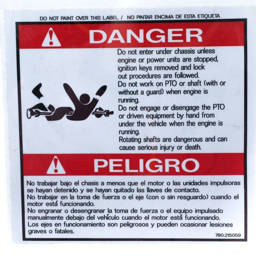 Mixer 0215059 Danger Decal Sticker - Do Not Enter Under Chassis...